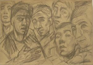 They listen. 1932. Paper, pencil. 22х32.