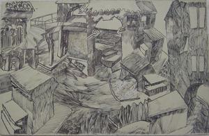 Archs & stairs. 1933. P., ink, pen. 32х21. Signature.
