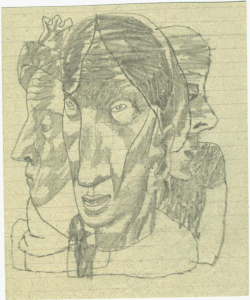 Three. 1933. Paper, pencil. 13х10.