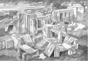 Крепость у залива (сумерки). 1979. Б., тушь, перо. 50х73.