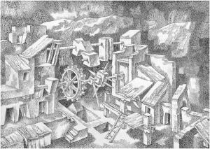 Опыты III. 1980. Б., тушь, перо. 50х71.