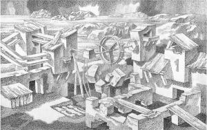 Опыты V. 1980. Б., тушь, перо. 48х76.