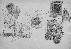 Composition (Mongol man with basket and window). 1934. P., ink. 24х36.