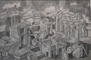 Опыты I. Пустынный город. 1981. Б., тушь, перо. 49х72.