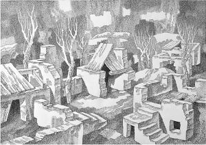 Осенний уют. 1982. Б., тушь, перо. 52х74.