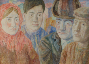 Four faces against the background of the cityscape. 1970-1980. P., watercolor, crayon. 48.5x65.5. Kaliningrad State Art Gallery.