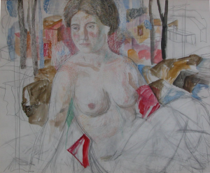 Sitting nude. 1980's. P., watercolor.