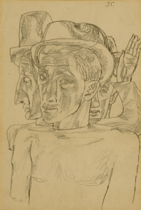 On the Cemetery. 1935. P., ink, pen, pencil. 27,8х19. State Tretiakov Gallery.