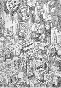 Опыты IV. 1985. Б., тушь, перо. 74х51.