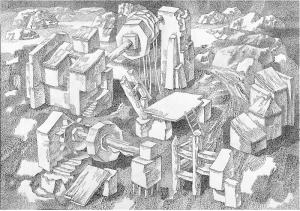 Опыты с многоугольными колесами. 1985. Б., тушь, перо. 51х73.