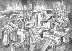 Осенний уют. 1985. Б., тушь, перо. 49х76.
