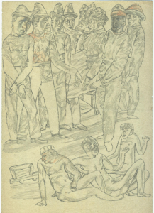 People. 1935. P., pencil. 30х21.