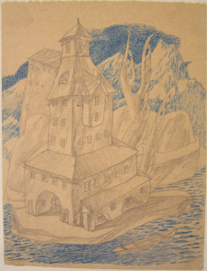 Castle by blue mountains. 1936. P., color pencils. 14х10.