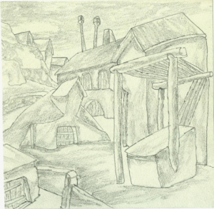 House and cellar. 1936. P., pencil. 15x15.
