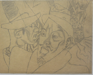 Thick and thin. 1936. P., pencil. 19х24.