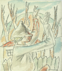 Forward! 1936. P., color pencil. 23x20.