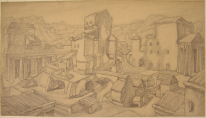 House of Technics. 1937. P., pencil. 21х38.
