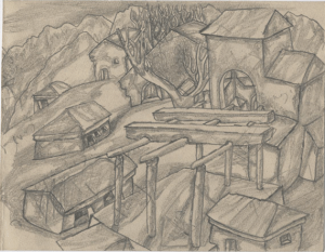 House of Recreation. 1937. P., pencil. 15x19.