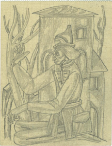 Philosopher. 1937. P., pencil. 13х10.