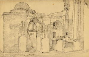Mosque by the Old Bazaar. 1938. P., pencil, ink, pen. 17х28.