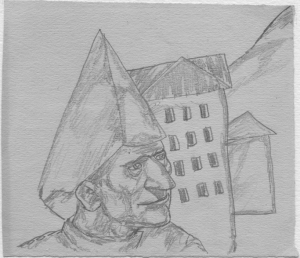 Man in Acute Hat. 1938. P., pencil. 12x14.