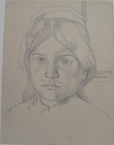 Kumre, daughter of Mrbua. 1939, Khodzhikent. P., pencil. 28х22.