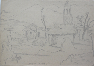 Mosque in Khodzhikent. 1939. P., pencil. 22х31.