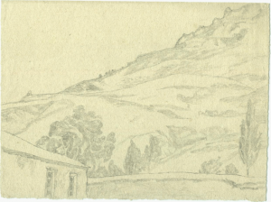Outskirts of Khodzhikent. 1939. P., pencil. 16х20.