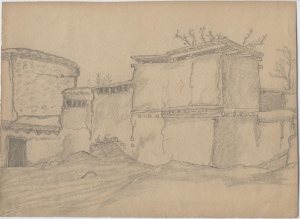 Tashkent. Houses Behind the Old Bazar. 1939. P., pencil. 21х29.