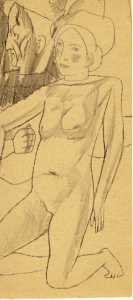 Naked in Hat. 1930's. P., pencil. 23,2x10,5.