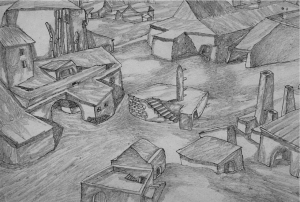Empty Side-street. 1930's. P., pencil.