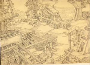 Architectural Landscape. 1940. P., pencil.