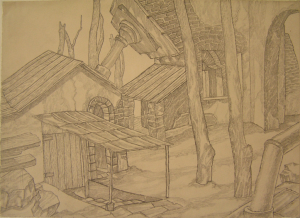 Architectural fantasy. 1941. P., pencil. 19х26.