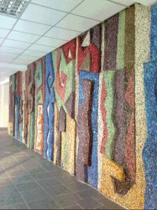 Панно в холле административного корпуса киностудии Казахфильм. 1979. Смальта.