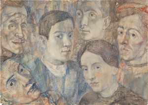 Групповой портрет с автопортретом и Петькой. 1933-1938-1951. Б., акв. 41,5х59.