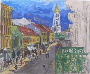 Вид на Владимирский собор с нашего балкона. 1926. Б., акв. 31х37.