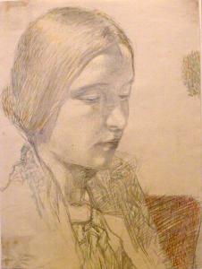 Woman's portrait. 1934. P., pencil, watercolours. 33x24,5.