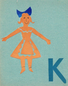 "Alphabet. The letter ""К"". The end of 1960s-early 1970s. Color paper, color cardboard, glue."
