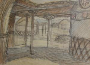 Sketch for a movie. P., graphite pencil, crayon. 28x39.