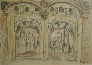 Russian motif. P., graphite pencil, crayon. 29.5x42.