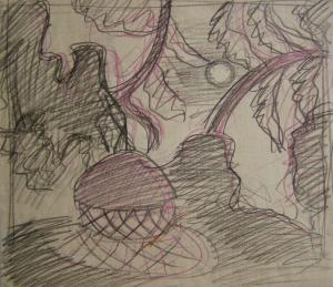 Yurt. Sketch of the scenery. P., pencil., crayon. 25x29.