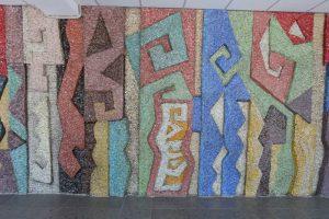 Деталь панно в холле административного корпуса киностудии Казахфильм. 1979. Смальта.