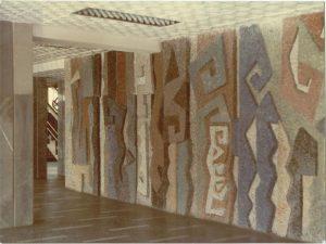 Панно в здании киностудии Казахфильм. 1979. Смальта.