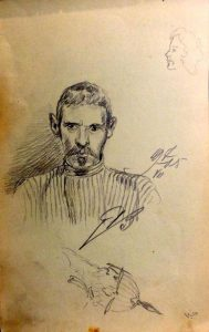 Портрет сослуживца. 1905. Лист из походного альбома Я.Я. Зальцмана. Графитный карандаш.