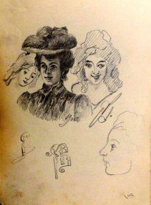 Женские головы. 1905. Лист из походного альбома Я.Я. Зальцмана. Графитный карандаш.