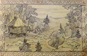 Избушка на курьих ножках. 1905. Графитный карандаш.