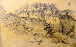 Овраг. 1905. Лист из походного альбома Я.Я. Зальцмана. Графитный карандаш.