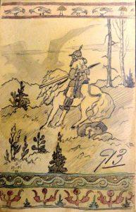 Сказка. 1905. Лист из походного альбома Я.Я. Зальцмана. Цветной и графитный карандаш.