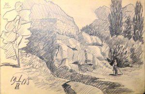 Развалины крепости. 1905. Лист из походного альбома Я.Я. Зальцмана. Графитный карандаш.
