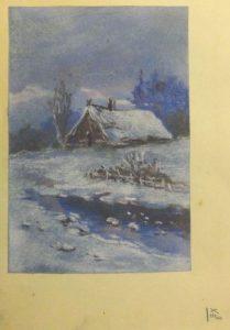 Изба в снегу. 1909. Лист из походного альбома Я.Я. Зальцмана. Пастель.
